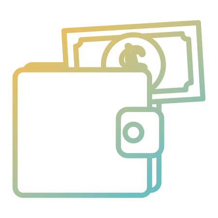 wallet with bills money isolated icon vector illustration design Ilustração