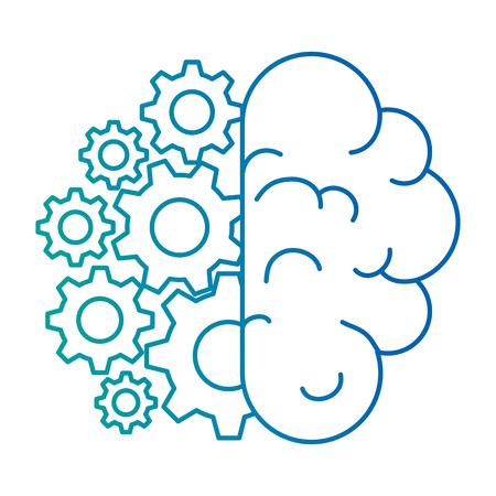 brain human with gears vector illustration design