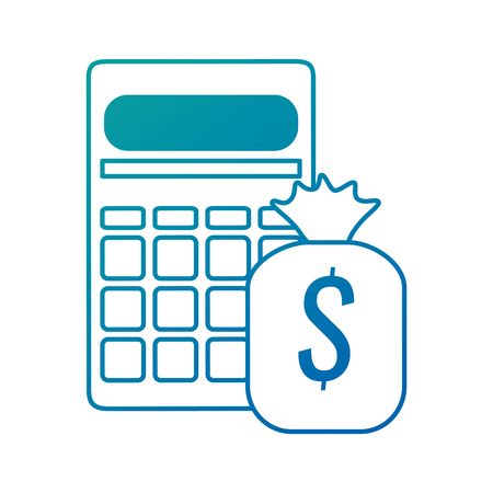calculator math with money bag vector illustration design