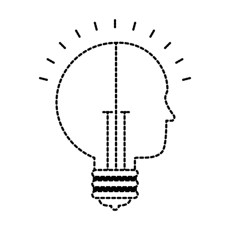 bulb light idea with profile vector illustration design Ilustração