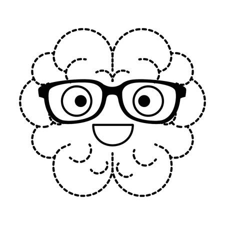 brain with glasses kawaii character vector illustration design