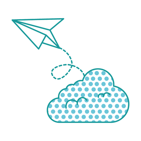 paper airplane flying with cloud vector illustration design Foto de archivo - 98705884