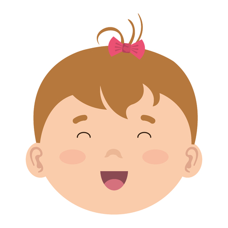 little baby girl head character vector illustration design