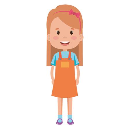 Happy little girl character vector illustration design.