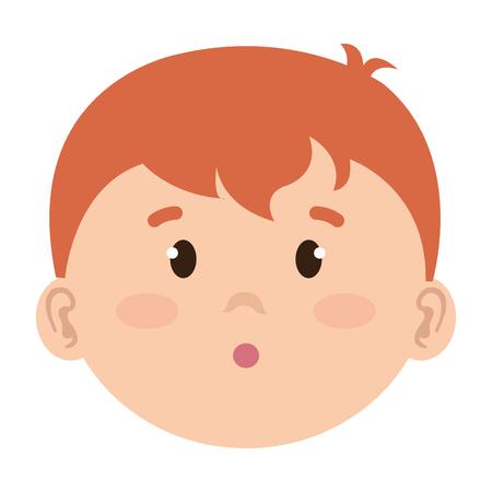 Little boy baby head character vector illustration design. Çizim