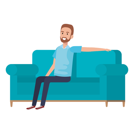 Young man with beard sitting in sofa vector illustration design.