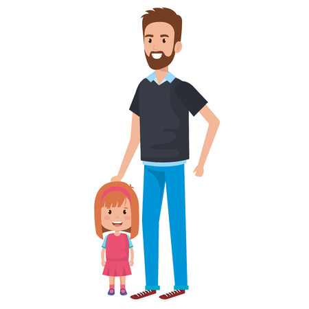 Father with daughter characters vector illustration design.