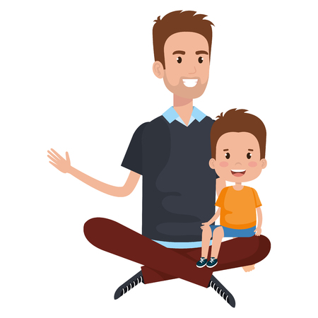 Father sitting on the floor carrying son vector illustration design.