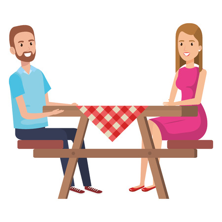 picnic table with couple characters vector illustration design Çizim