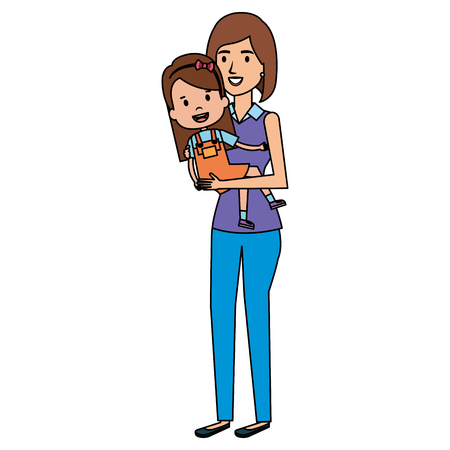 mother lifting daughter characters vector illustration design