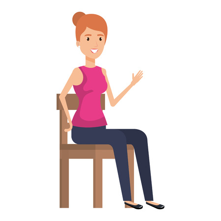 Beautiful woman sitting in wooden chair vector illustration design. Ilustração