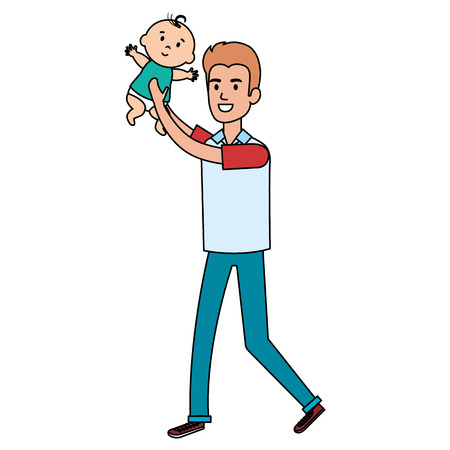 Father lifting baby characters vector illustration design.