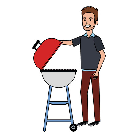 man using grill character vector illustration design