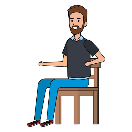 young man with beard sitting in wooden chair vector illustration design 矢量图像