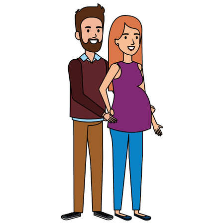 Man with woman pregnant avatar character vector illustration design.