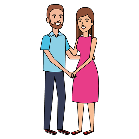 Young couple avatars characters vector illustration design. Illustration