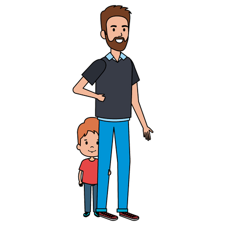 Padre con progettazione dell'illustrazione di vettore dei caratteri del figlio. Archivio Fotografico - 98700094