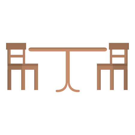 wooden table with chairs vector illustration design Stock Illustratie