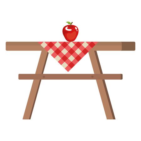 picknicktafel met tafelkleden en appel vector illustratie ontwerp