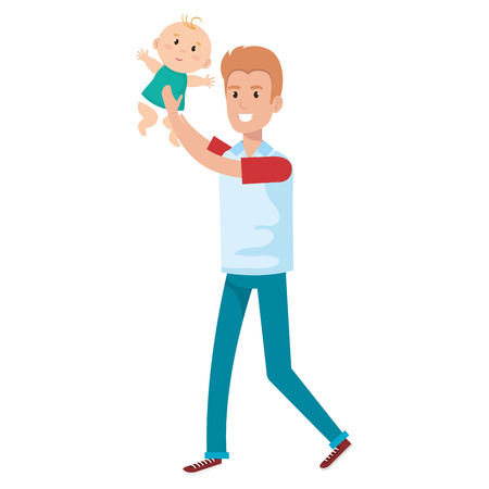 father lifting baby characters vector illustration design Illustration