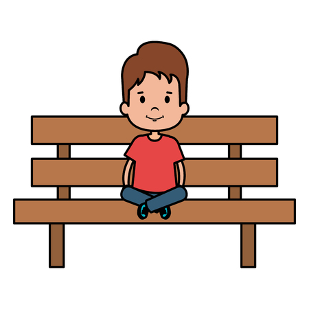 little boy sitting in park chair character vector illustration design