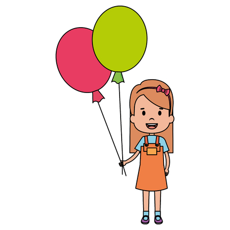 happy little girl with balloons air character vector illustration design