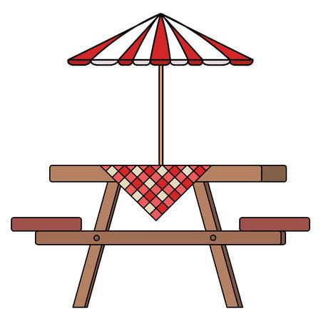 Picknicklijst met paraplu en lijstontwerp van de kleren het vectorillustratie