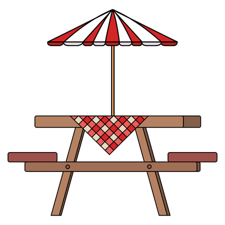 Picnic table with umbrella and table clothes vector illustration design