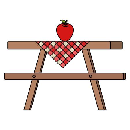 Picknicklijst met lijstkleren en ontwerp van de appel het vectorillustratie