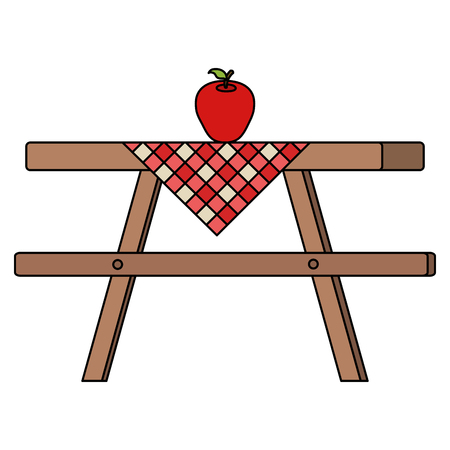 Picnic table with table clothes and apple vector illustration design Çizim