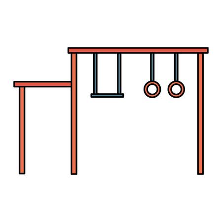 Swing playground game for children vector illustration design