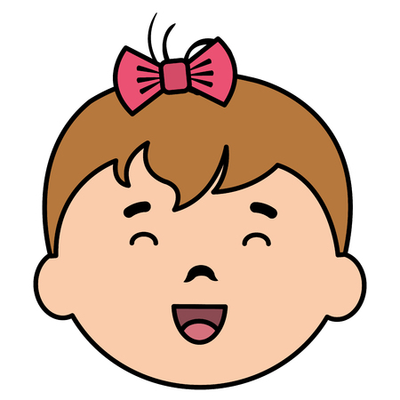 little baby girl head character vector illustration design