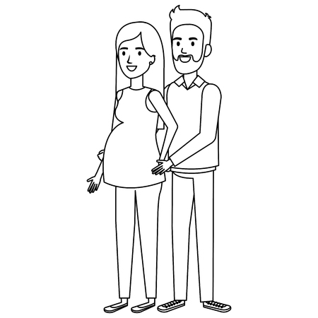 man with woman pregnacy avatar character vector illustration design Reklamní fotografie - 98630112