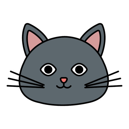 cute cat head pet friendly vector illustration design