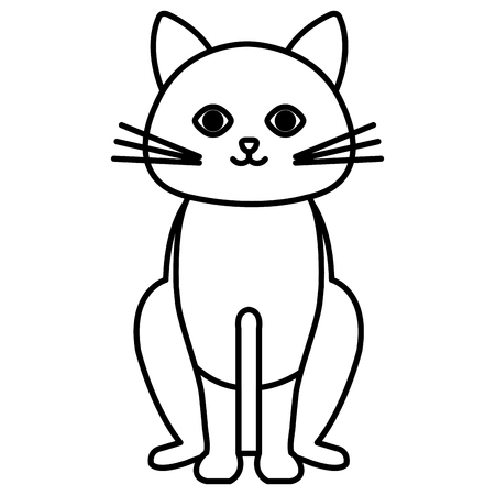Cute cat pet friendly vector illustration design