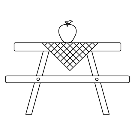 picnic table with tableclothes and apple vector illustration design Çizim