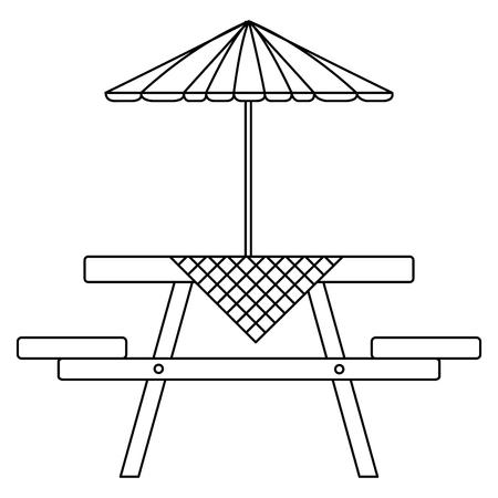 picknicktafel met paraplu en tafelkleden vector illustratie ontwerp