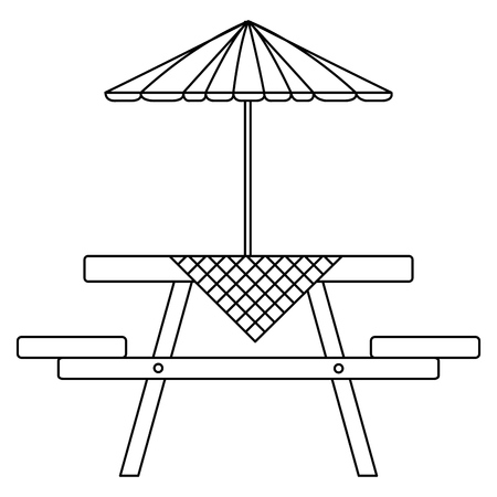 picnic table with umbrella and tableclothes vector illustration design