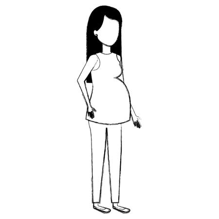woman pregnacy avatar character vector illustration design Иллюстрация