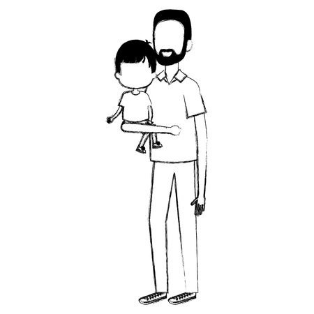 Father lifting son characters vector illustration design