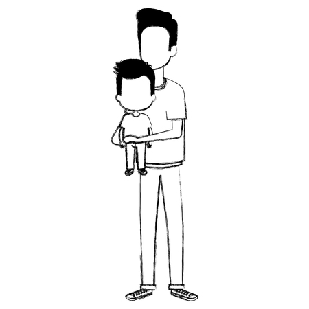 father lifting son characters vector illustration design Illustration