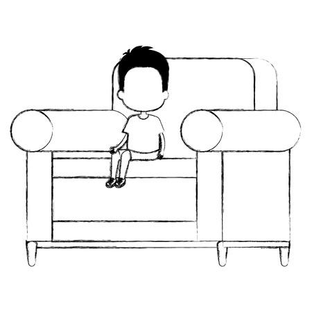 little boy sitting in sofa character vector illustration design Ilustracja