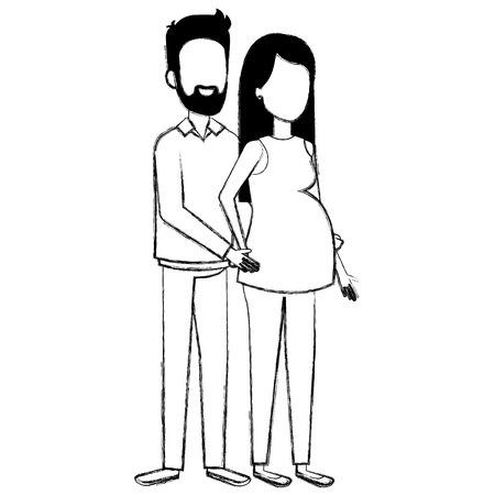 man with woman pregnacy avatar character vector illustration design Reklamní fotografie - 98644047