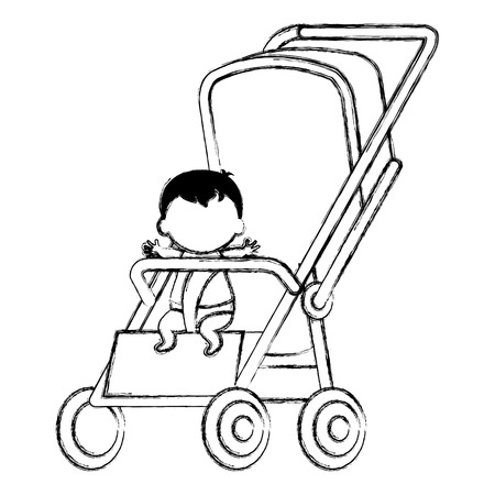 little baby in cart character vector illustration design
