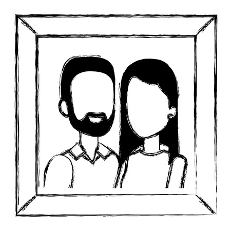 portraits with husband and wife vector illustration design