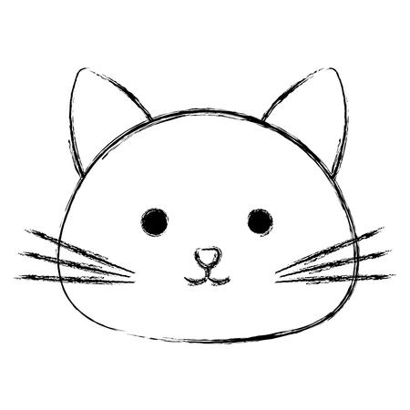 cute cat head pet friendly vector illustration design