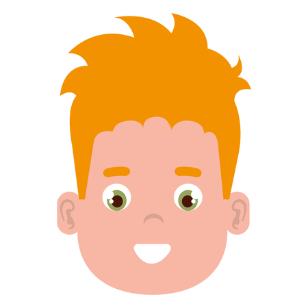 happy little boy head character vector illustration design