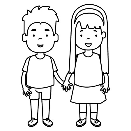happy little couple characters vector illustration design
