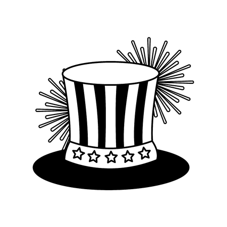 uncle sam top hat with flag united states usa fireworks vector illustration