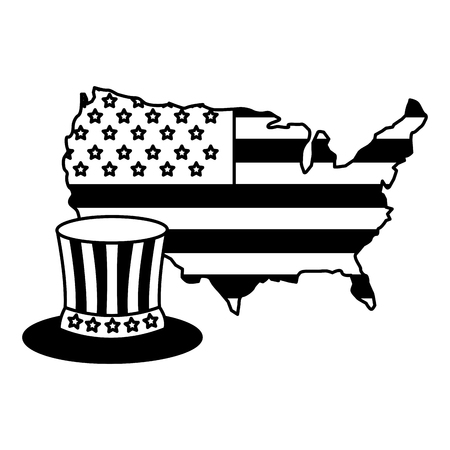 flag of america on map and gentleman hat vector illustration